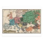 Mapa del viaje del vintage postales