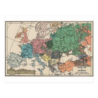 Mapa del viaje del vintage tarjetas postales