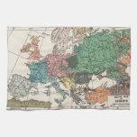 Mapa del viaje del vintage toalla de cocina