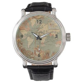 Mapa del Victorian del vintage del Imperio Reloj De Mano