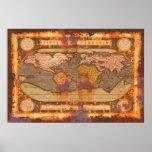 Mapa del Viejo Mundo de Ortelius en estilo oxidado Impresiones