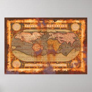 Mapa del Viejo Mundo de Ortelius en estilo oxidado Póster
