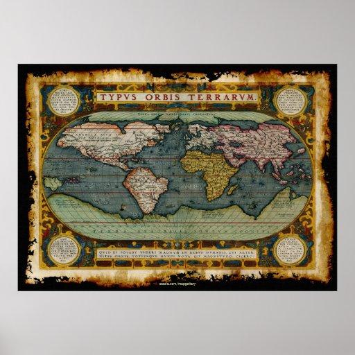 Mapa del Viejo Mundo de Ortelius en estilo rústico Posters