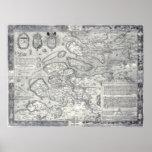 Mapa del vintage 1560 de Selandia Países Bajos Dev Poster