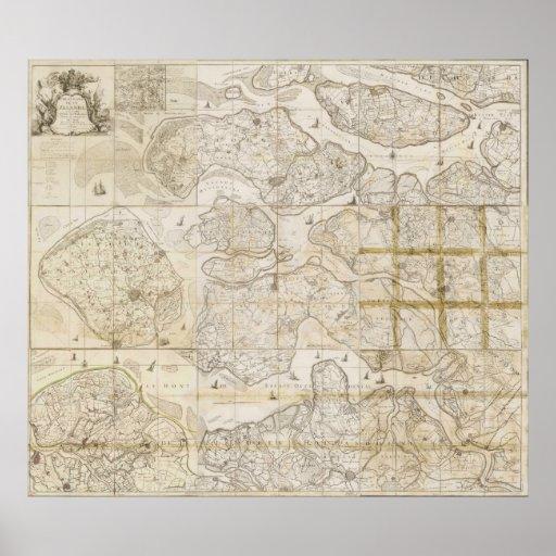 Mapa del vintage 1785 de Selandia Países Bajos Poster