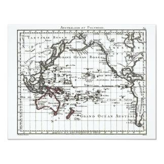 """Mapa del vintage 1806 - Australasie y Polynesie Invitación 4.25"""" X 5.5"""""""
