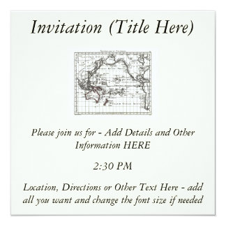 """Mapa del vintage 1806 - Australasie y Polynesie Invitación 5.25"""" X 5.25"""""""