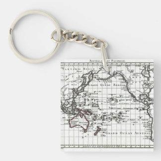 Mapa del vintage 1806 - Australasie y Polynesie Llavero Cuadrado Acrílico A Doble Cara