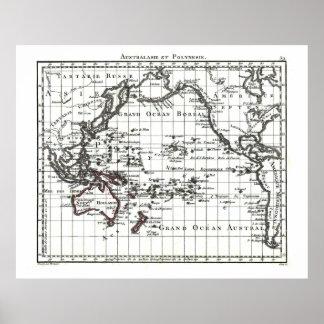 Mapa del vintage 1806 - Australasie y Polynesie Póster