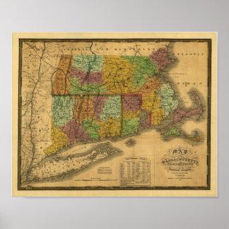 Mapa del vintage 1831 - Nueva Inglaterra meridiona Posters