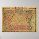 Mapa del vintage 1861 de Virginia, de Maryland y d Poster