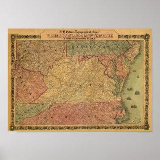 Mapa del vintage 1861 de Virginia de Maryland y d Poster