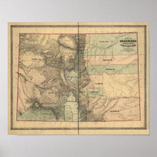 Mapa del vintage 1862 del territorio de Colorado Póster