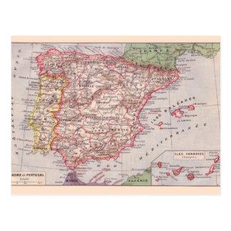 Mapa del vintage, 1920, España Tarjetas Postales