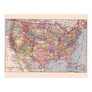 Mapa del vintage, 1920, estados de los E.E.U.U. Tarjetas Postales