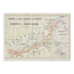 Mapa del vintage, 1920, francés, Chemin de Fer, Et Póster