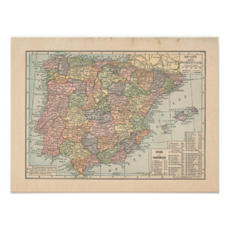 Mapa del vintage 1923 de España y de Portugal Posters