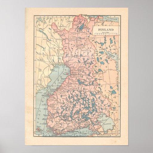 Mapa del vintage 1923 de Finlandia Póster