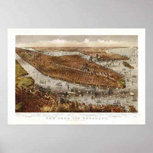 Mapa del vintage - Brooklyn, Nueva York 1875 Póster
