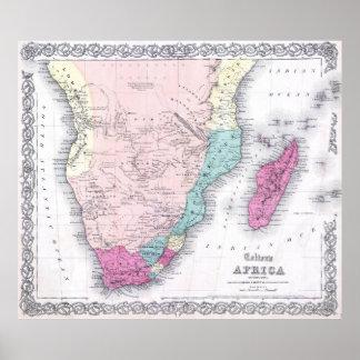 Mapa del vintage de África meridional (1855) Póster