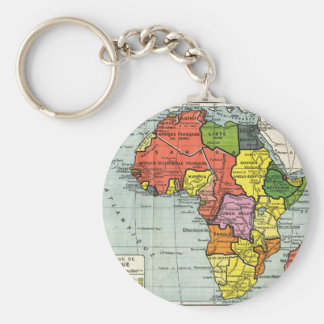 Mapa del vintage de África, texto francés Llavero Redondo Tipo Pin