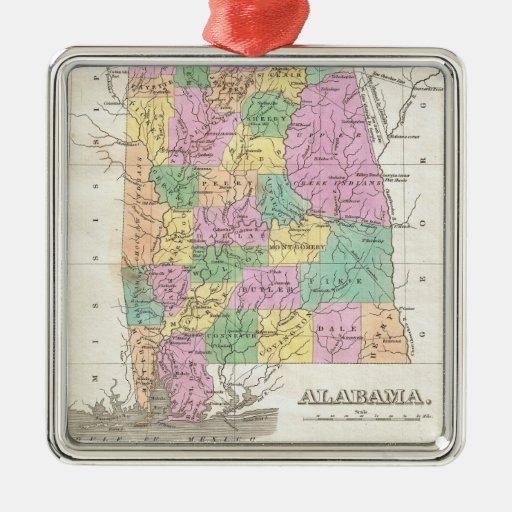 Mapa del vintage de Alabama (1827) Adorno