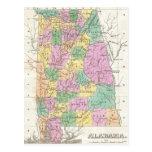 Mapa del vintage de Alabama (1827) Postales