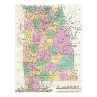 Mapa del vintage de Alabama (1827) Tarjetas Postales