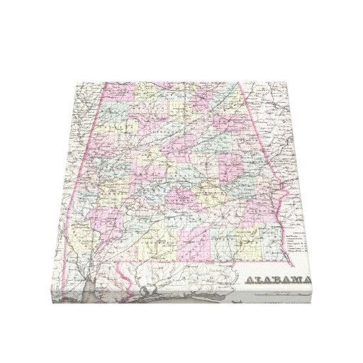 Mapa del vintage de Alabama (1855) Impresión En Lienzo