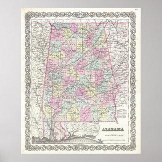 Mapa del vintage de Alabama (1855) Póster