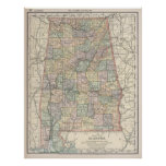 Mapa del vintage de Alabama (1891) Póster