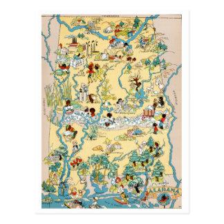 Mapa del vintage de Alabama Tarjetas Postales