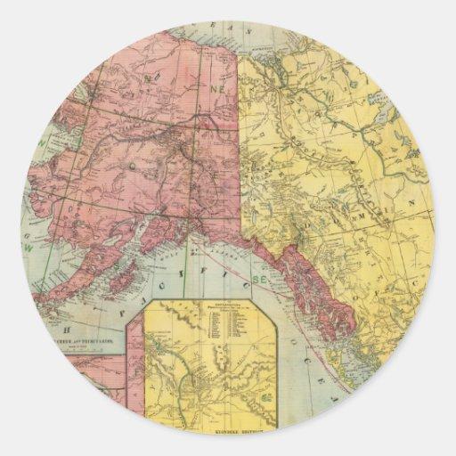 Mapa del vintage de Alaska y de Canadá (1901) Pegatinas Redondas