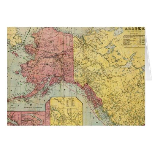 Mapa del vintage de Alaska y de Canadá (1901) Tarjeta De Felicitación