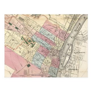 Mapa del vintage de Albany NY (1874) Postal
