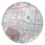 Mapa del vintage de ALBUQUERQUE Plato Para Fiesta