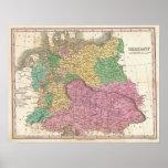 Mapa del vintage de Alemania (1827) Posters