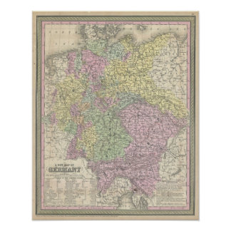 Mapa del vintage de Alemania (1853) Poster