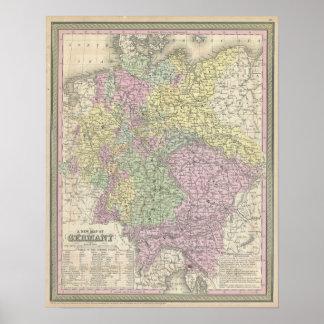 Mapa del vintage de Alemania (1853) Póster