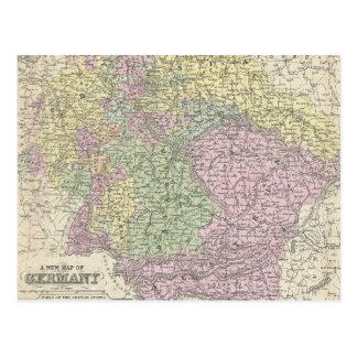 Mapa del vintage de Alemania (1853) Tarjetas Postales