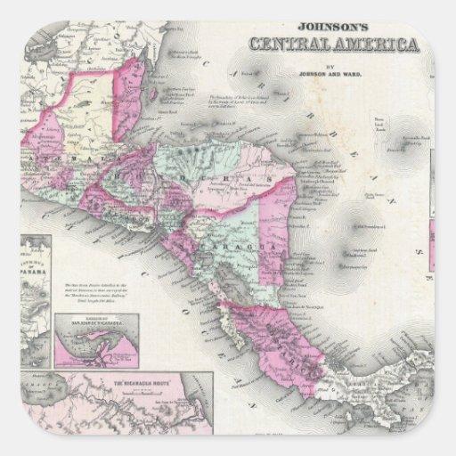Mapa del vintage de America Central (1864) Calcomanía Cuadradas Personalizadas