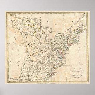 Mapa del vintage de América temprana (1799) Póster