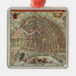 Mapa del vintage de Amsterdam (1688) Ornamentos De Navidad