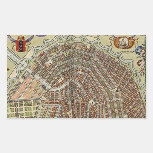 Mapa del vintage de Amsterdam (1688) Rectangular Pegatinas