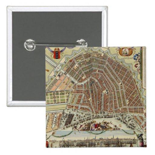 Mapa del vintage de Amsterdam (1688) Pin Cuadrada 5 Cm