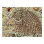 Mapa del vintage de Amsterdam (1688) Tarjetas Postales
