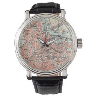 Mapa del vintage de Amsterdam (1905) (2) Relojes