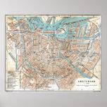Mapa del vintage de Amsterdam (1905) Póster