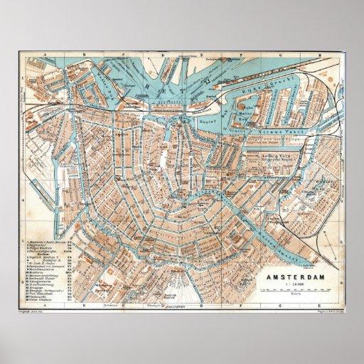 Mapa del vintage de Amsterdam (1905) Poster