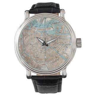 Mapa del vintage de Amsterdam (1905) Relojes De Pulsera
